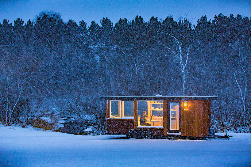 Escape Vista is a mobile cabin clad with cedar wood and corten steel