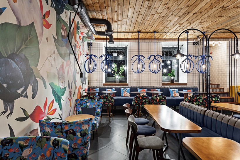 Kleydesign tells a story within blue cup coffee shop in Kiev