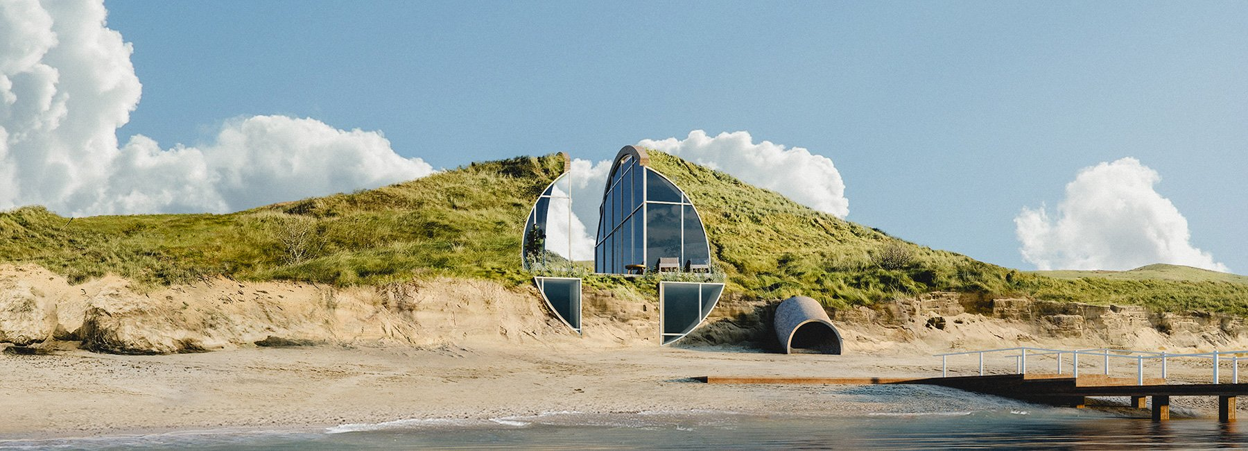Self-sustainable, off-the-grid dune house