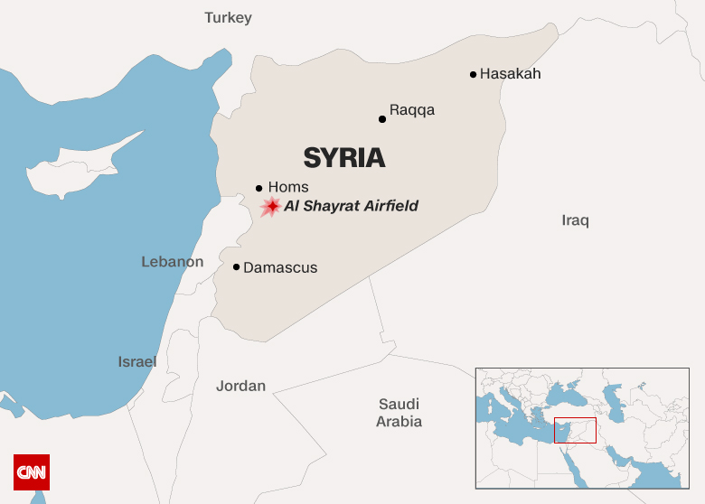 The United States launched a military strike with 59 missiles on a Syrian government airbase Shayrat in response to chemical attack