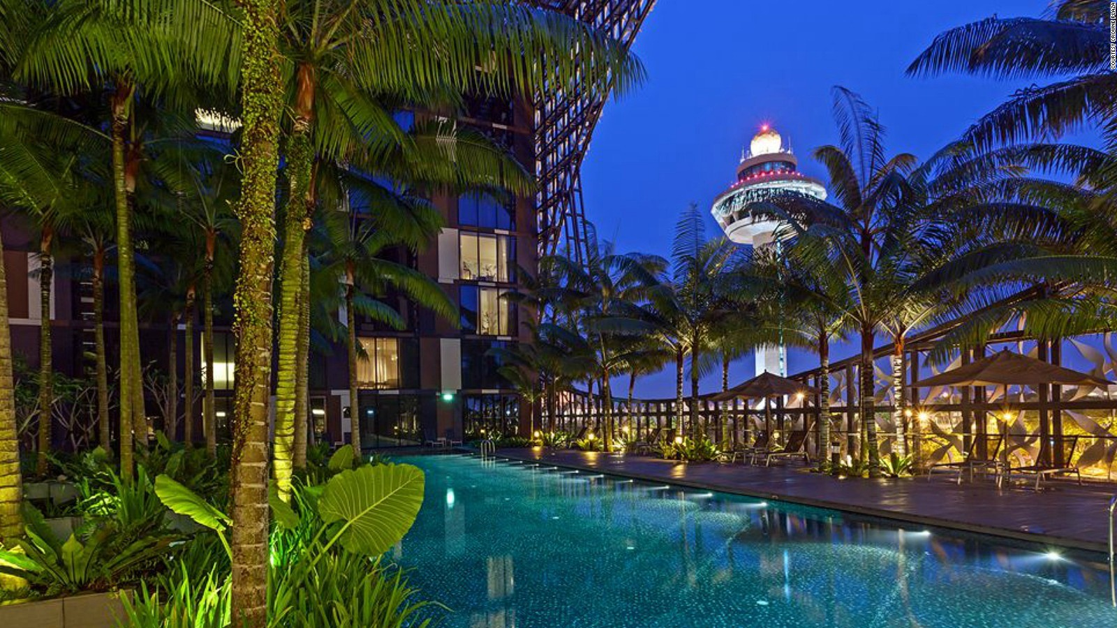 The Crowne Plaza Changi Airport hotel creates the kind of layover you'll never want to leave. There's a gym, spa, several restaurants and an enormous courtyard with a swimming pool flanked by rainforest-style gardens.