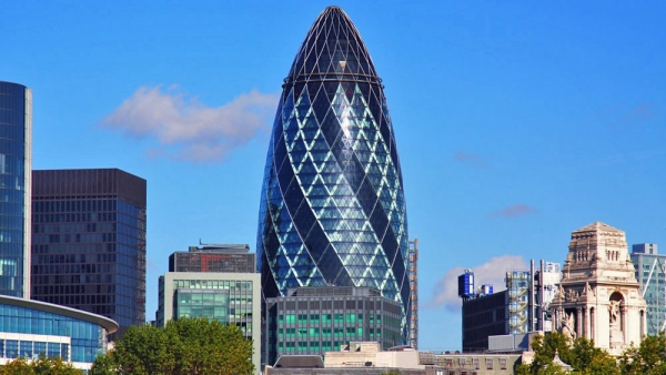 skyscraper, 30 St Mary Axe (Gherkin), London